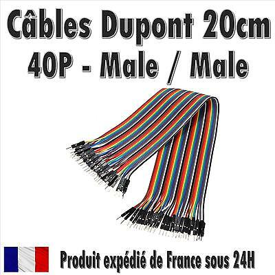 40x Cables Dupont 20cm Male/Male pour BreadBoard Arduino, Raspberry Pi