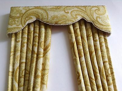 "12th GOLD PAISLEY Dollhouse Curtains LARGER SIZE 5 X 8"" Or Made To Size"