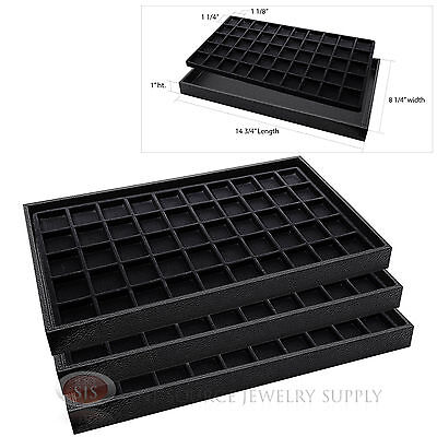 3 Wooden Sample Display Trays 3 Divided 50 Compartment  Black Tray Liner Inserts