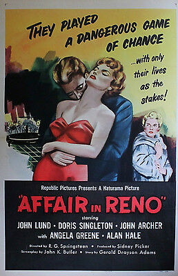 Affair in Reno - Linen backed US One Sheet 27 x 41 inches