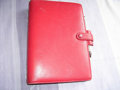 FILOFAX BELGRAVIA PERSONAL SIZE DELUXE RED LEATHER SOFT ORGANISER 2017 DIARY etc