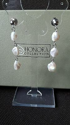 Honora Sterling Silver Large White Keishi Pearl Chain Drop Earrings