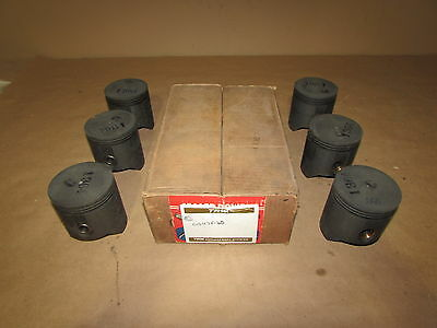 "Chevrolet 1941-1953 3-1/2"" Cast Iron Piston Set 6-Cyl C1047F-60 +.060 NOS Chevy"