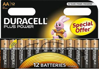 12 x Duracell AA Batteries Plus Power Alkaline MN1500 LR6 MIGNON Duralock