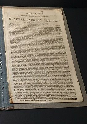 RARE General Zachary Taylor 1848 A Sketch Of The Personal Character Leaflet