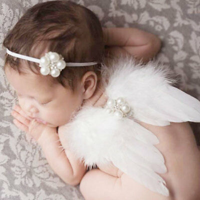Newborn Baby Toddler Angel Wings Costume Photo Photography Prop Outfit Pearl