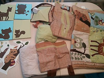 Ln Lambs & Ivy Enchanted Forest Crib Bedding Set + Musical Mobile + Frames +