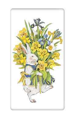 Flour Sack Towel Designed by Mary Lake Thompson - White Rabbit with Daffodils