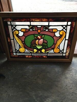"Sg 1074 Antique Gorgeous Fruitbowl Stainglass Window 17"" X 23 And Three-Quarter"