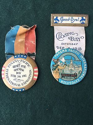 Pair 1915 Panama Pacific Expo Opening & Closing Day pins buttons, ribbons