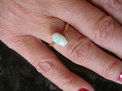 Stunning solid 18KT Yellow 18CT GOLD FIERY OPAL SOLITAIRE Ring Size K/L