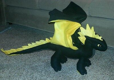 "Custom Handmade Black Dragon Plush 30"", Poseable, One of a Kind!"