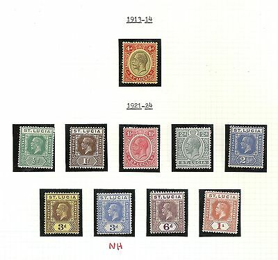 St Lucia  George V 1921-24  10 Issues  MLH  Cat V $45+