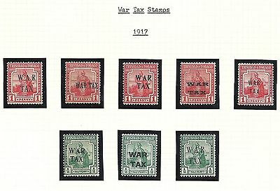 Trinidad & Tobago 1917-8 War Stamp  10 Issues MH