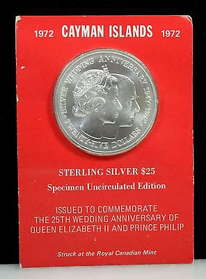 1972 Cayman Islands Sterling Silver $25 Uncirculated Coin