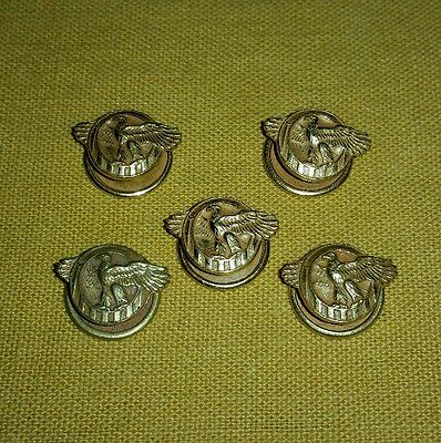 5 WWII Ruptured Duck Honorable Discharge Buttons Lot Lapel Pins Military Army