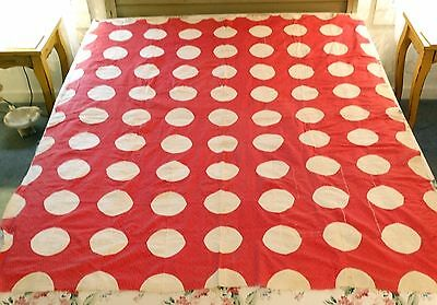 MAINE ANTIQUE 1880's-1890's ROSE PINK CALICO OPTICAL CIRCLES QUILT TOP HAND SEWN