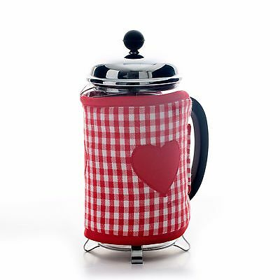 Dexam Vintage Home Cafetiere Cosy Claret Gingham Heart