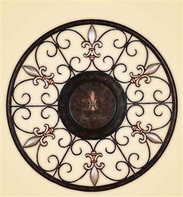 Antique French Country Round Scroll Wrought Iron Wall Grille Art Panel HomeDecor