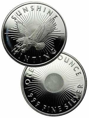 Sunshine Minting 1 Troy Oz. .999 Fine Silver Round includes Plastic Capsule