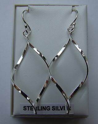 Women's 925 Sterling Silver Spiral Drop Earrings-New In Box