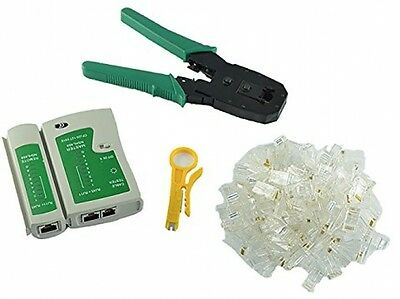 Racksoy - Cable Tester +Crimping Plier Crimper +100 Rj45 Cat5 Cat5e Connector
