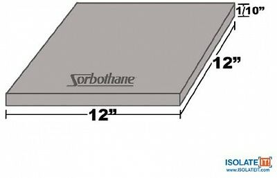Sorbothane Vibration Damping Sheet Stock 70 Duro 1/10 (2.54mm) X 12in (30.5cm)