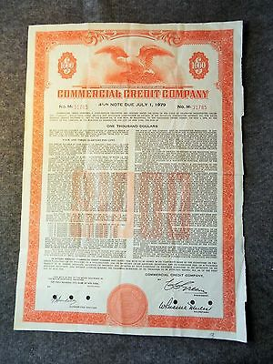 Commercial Credit Company > 1960 $1,000 bond certificate stock share