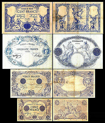 * * * 5, 20, 50, 100 Francs - Issue 1871 - 1905 - 4 Banknotes - 18 * * *