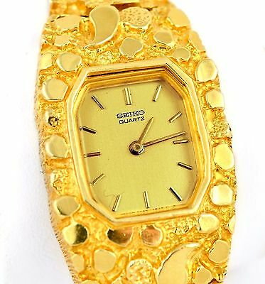 seiko 14k solid yellow gold watch 8 nugget style wrist. Black Bedroom Furniture Sets. Home Design Ideas
