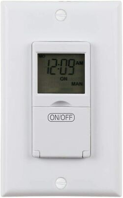 Century 7 Day Programmable In-Wall Timer Switch Digital for Fans, Lights, Motors