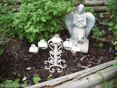 Chippy White Iron Candle Primitive holder scroll Shabby Steampunk