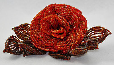 Vintage Single French Glass Hand Beaded Wire Flower