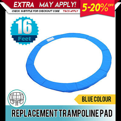 New Replacement Trampoline Pad Round Reinforced Safety Spring Cover 16FT Blue