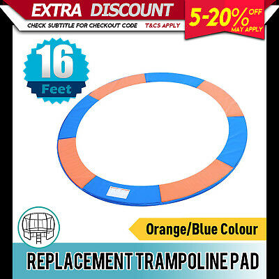 Replacement Trampoline Pad Round Reinforced Safety Spring Cover 16FT Orange/Blue