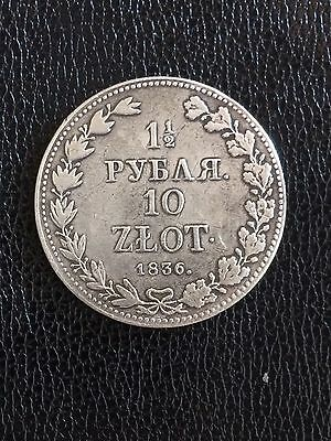 Poland under Russia 1 1/2 roubles - 10 zlot 1836 MW