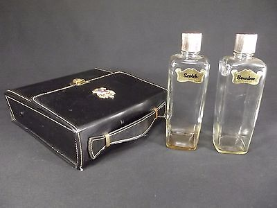 Vintage Travel Bar with 2 Glass Decanters Square Flasks Shields Fifth Avenue