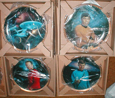 Star Trek Hamilton 8 Plate Set 25th Anniversary Commemorative COA's & Boxes MINT