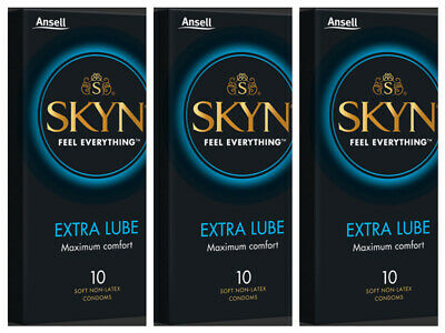 Ansell SKYN Extra Lubricated Non Latex 10 Pack Condoms x 3 Buy Deal