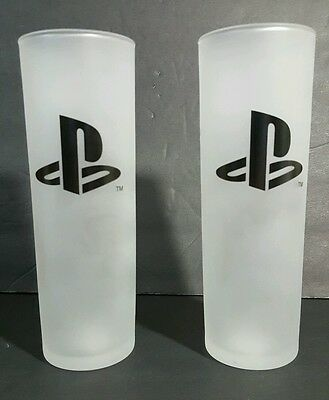 SET OF 2 Playstation 2 frosted drink cups glass