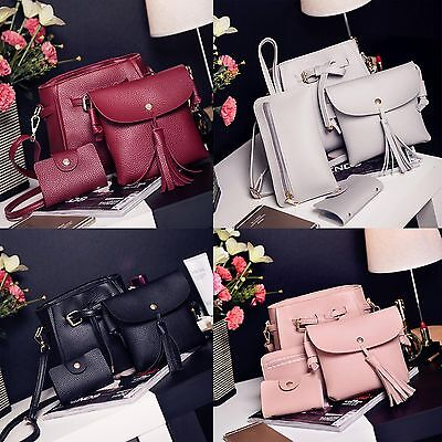 Fashion Women PU Leather Handbag+Shoulder Bag+Purse+Card Holder 4pcs Set Tote