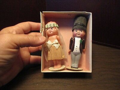 Antique 1920s Celluloid & Crepe Paper Bride & Groom Wedding Cake Toppers - JAPAN