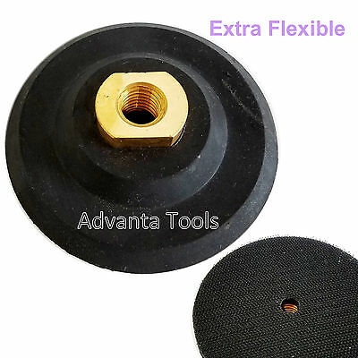 "4"" Rubber Extra Flexibler Backer Pad 5/8""-11 Threads for Diamond Polishing Pad"