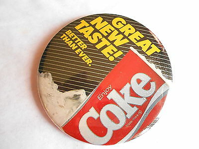 Vintage New Coke Great New Taste Better Than Ever Coca-Cola Advertising Pinback