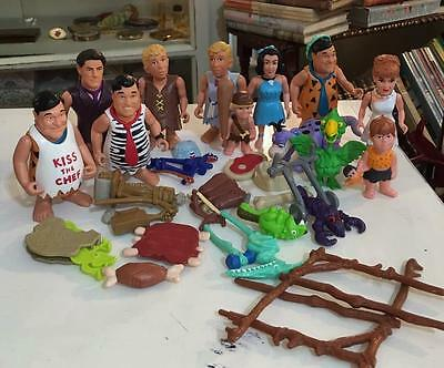 THE FLINTSTONEs Fred Wilma Barney Betty Action Figure Accessories HUGE Toy Lot