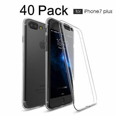 40 Pack Premium Flexible Clear Case Ultra Slim Soft TPU Cover for iPhone 7 Plus