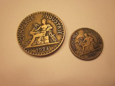 COINS FRANCE 1920's ANTIQUES FRENCH COIN SET OF 2 SOUVENIRS  #153