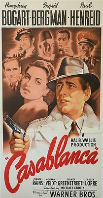 Casablanca Vintage 3 Sheet Movie Poster Lithograph Humphrey Bogart Hand Pulled