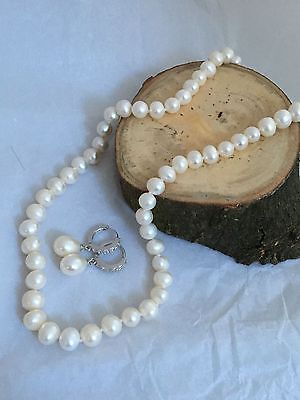 Sterling silver & fresh water pearl necklace and earrings new without tags