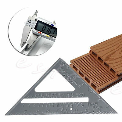 "7"" Alloy Speed Square Protractor Miter Framing Measurement Ruler For Carpenter"